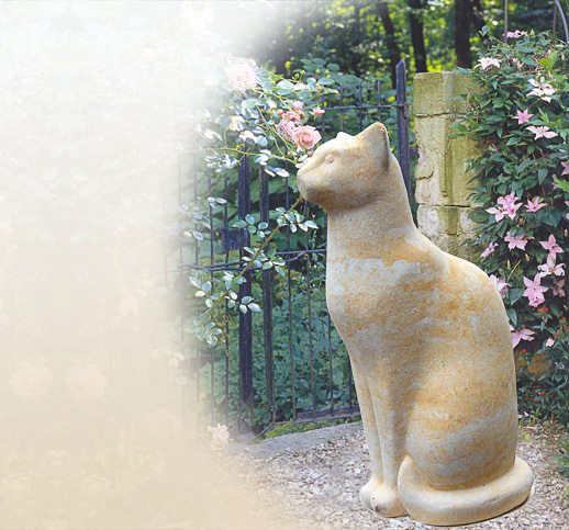 stilvolle katzenfiguren katzenfigur f r den garten steinkatze sandstein steinguss. Black Bedroom Furniture Sets. Home Design Ideas