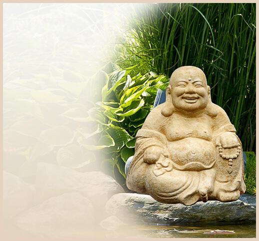 Buddha Statuen Garten: Lachender Buddha Als Statue Aus Stein